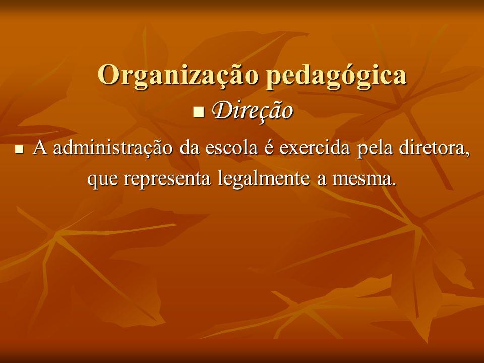 Organização pedagógica Direção Direção A administração da escola é exercida pela diretora, A administração da escola é exercida pela diretora, que rep