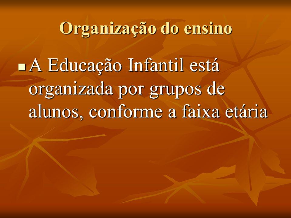 Organização do ensino A Educação Infantil está organizada por grupos de alunos, conforme a faixa etária