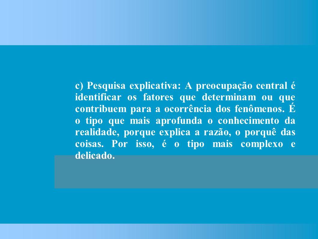 c) Pesquisa explicativa: A preocupação central é identificar os fatores que determinam ou que contribuem para a ocorrência dos fenômenos.