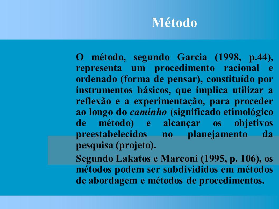 Método O método, segundo Garcia (1998, p.44), representa um procedimento racional e ordenado (forma de pensar), constituído por instrumentos básicos, que implica utilizar a reflexão e a experimentação, para proceder ao longo do caminho (significado etimológico de método) e alcançar os objetivos preestabelecidos no planejamento da pesquisa (projeto).