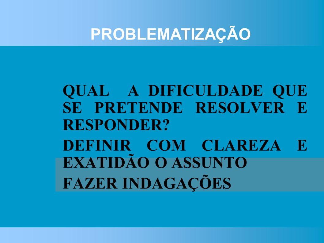 PROBLEMATIZAÇÃO QUAL A DIFICULDADE QUE SE PRETENDE RESOLVER E RESPONDER.