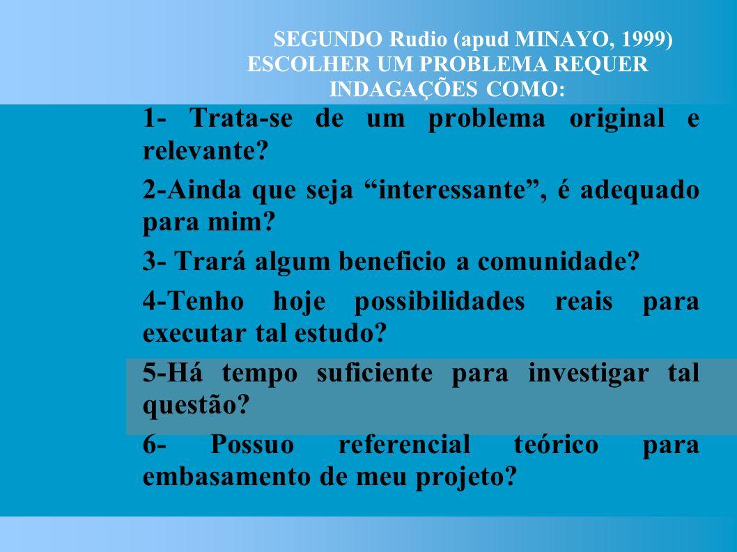 SEGUNDO Rudio (apud MINAYO, 1999) ESCOLHER UM PROBLEMA REQUER INDAGAÇÕES COMO: 1- Trata-se de um problema original e relevante.