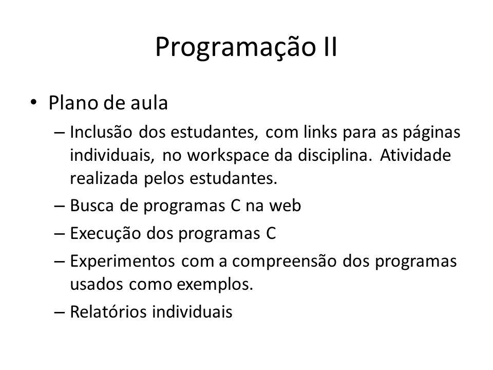 Programação II Plano de aula – Inclusão dos estudantes, com links para as páginas individuais, no workspace da disciplina. Atividade realizada pelos e