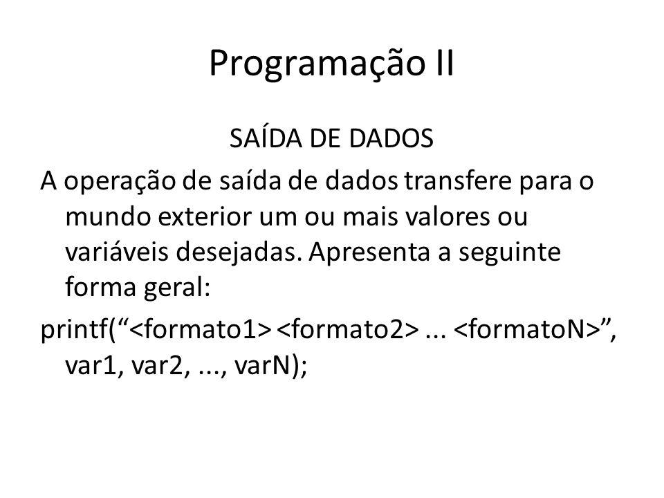 Programação II SAÍDA DE DADOS A operação de saída de dados transfere para o mundo exterior um ou mais valores ou variáveis desejadas. Apresenta a segu