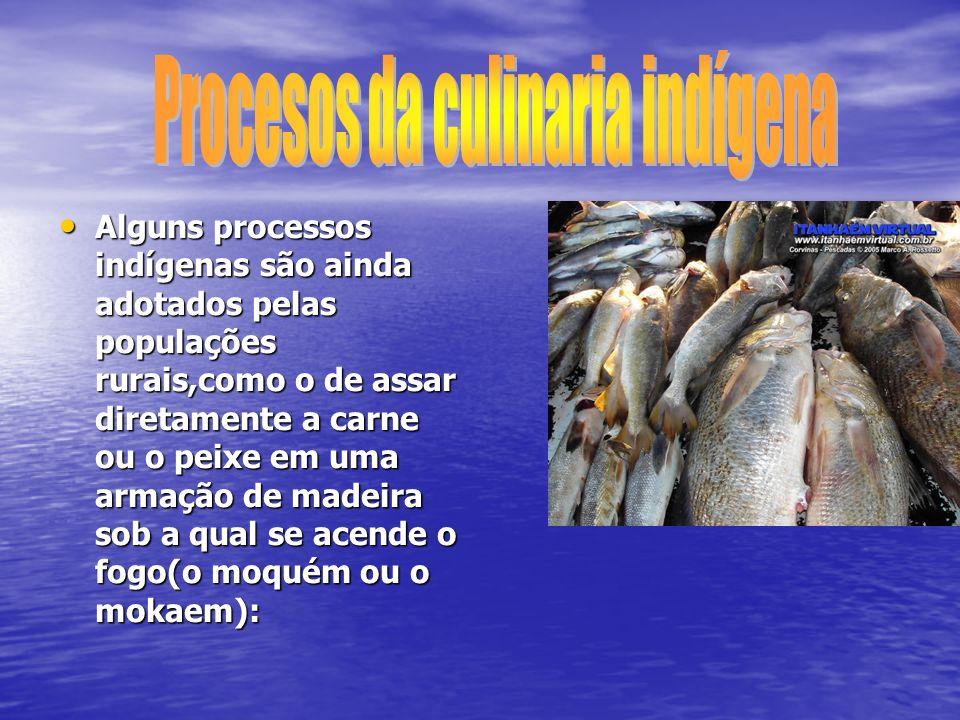 Alguns processos indígenas são ainda adotados pelas populações rurais,como o de assar diretamente a carne ou o peixe em uma armação de madeira sob a q