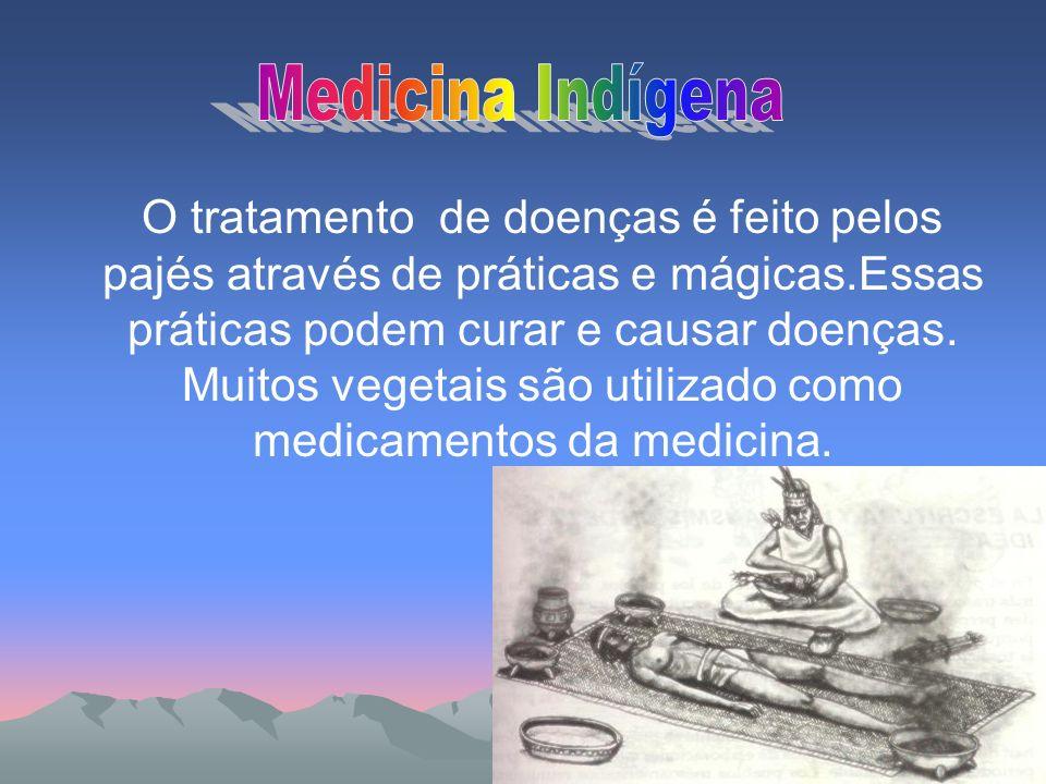 O tratamento de doenças é feito pelos pajés através de práticas e mágicas.Essas práticas podem curar e causar doenças. Muitos vegetais são utilizado c