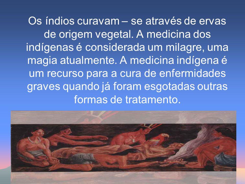Os índios curavam – se através de ervas de origem vegetal. A medicina dos indígenas é considerada um milagre, uma magia atualmente. A medicina indígen