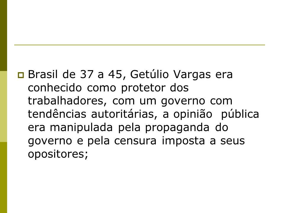 Brasil de 37 a 45, Getúlio Vargas era conhecido como protetor dos trabalhadores, com um governo com tendências autoritárias, a opinião pública era manipulada pela propaganda do governo e pela censura imposta a seus opositores;