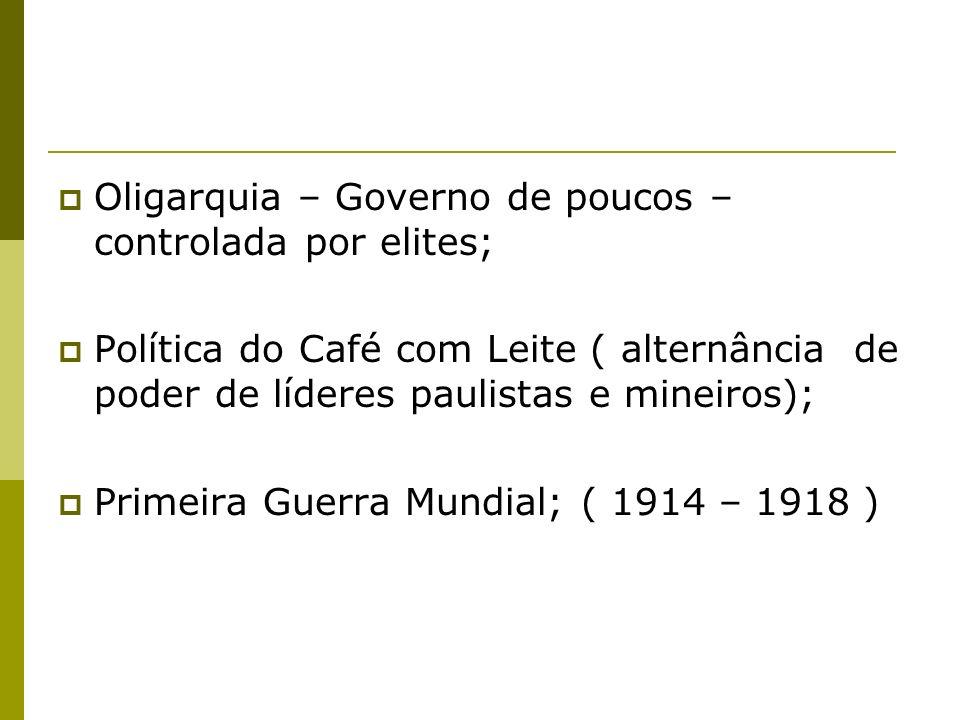 Oligarquia – Governo de poucos – controlada por elites; Política do Café com Leite ( alternância de poder de líderes paulistas e mineiros); Primeira Guerra Mundial; ( 1914 – 1918 )