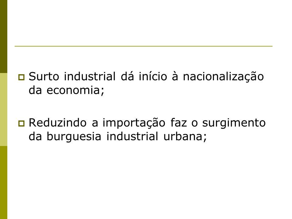 Surto industrial dá início à nacionalização da economia; Reduzindo a importação faz o surgimento da burguesia industrial urbana;