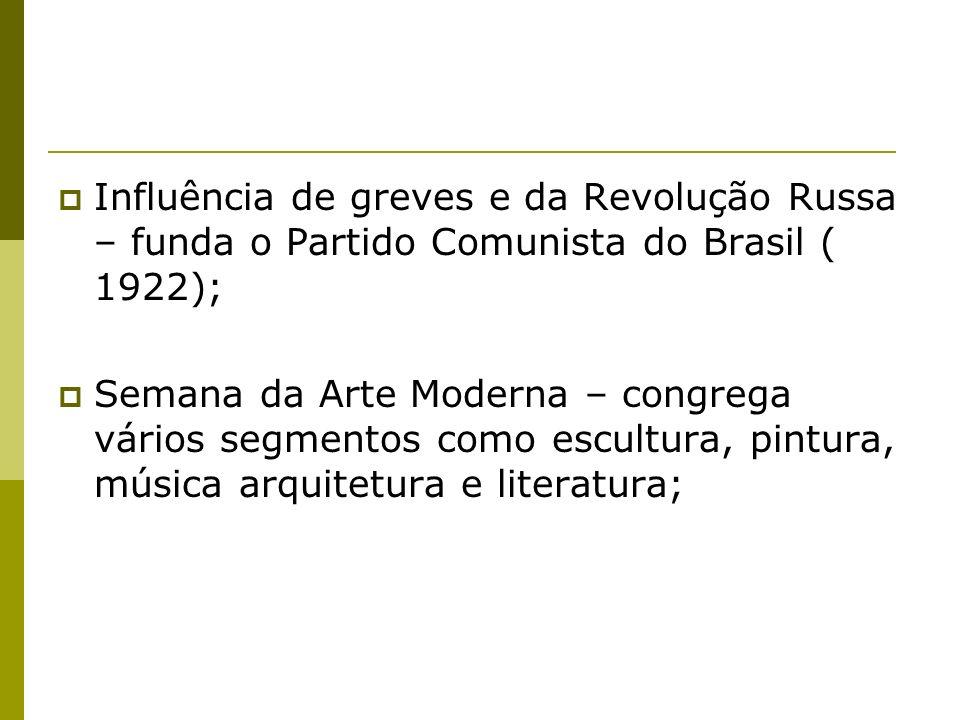 Influência de greves e da Revolução Russa – funda o Partido Comunista do Brasil ( 1922); Semana da Arte Moderna – congrega vários segmentos como escultura, pintura, música arquitetura e literatura;