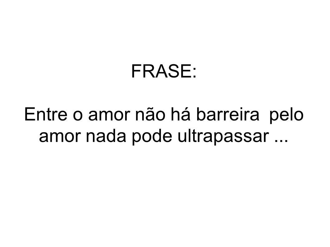 FRASE: Entre o amor não há barreira pelo amor nada pode ultrapassar...