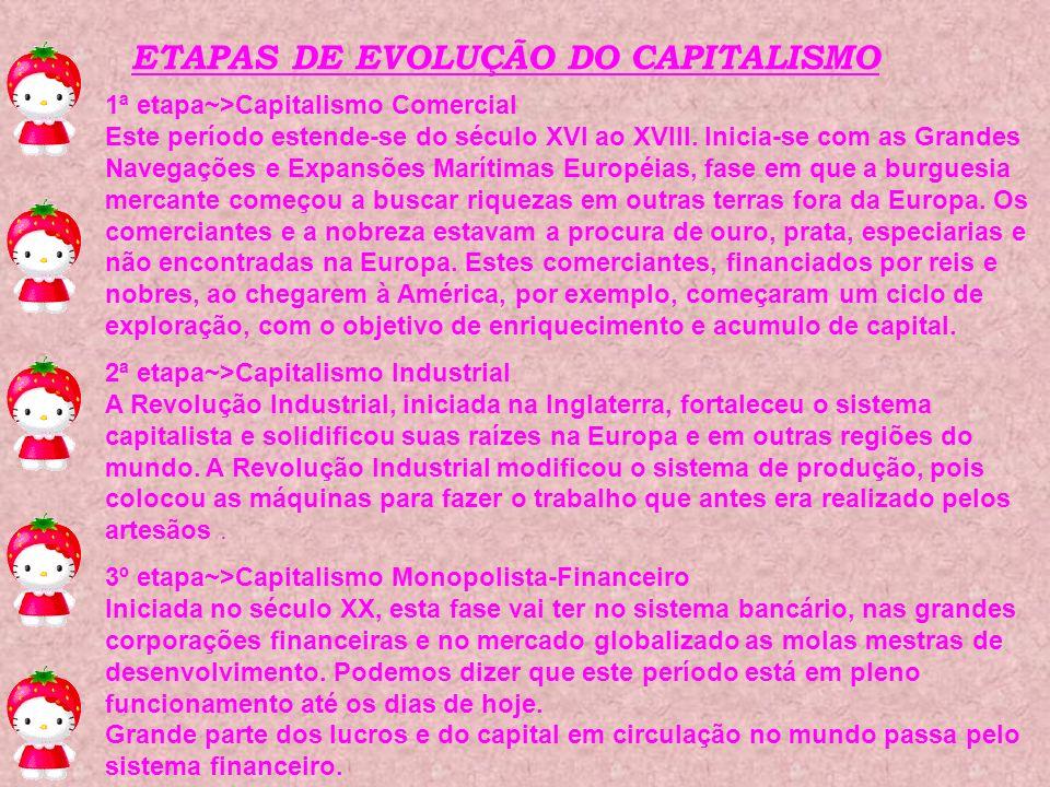ETAPAS DE EVOLUÇÃO DO CAPITALISMO 1ª etapa~>Capitalismo Comercial Este período estende-se do século XVI ao XVIII. Inicia-se com as Grandes Navegações