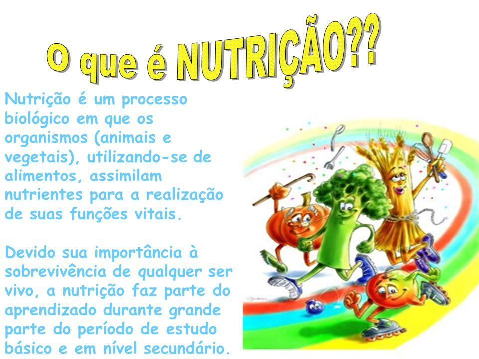 Nutrição é um processo biológico em que os organismos (animais e vegetais), utilizando-se de alimentos, assimilam nutrientes para a realização de suas