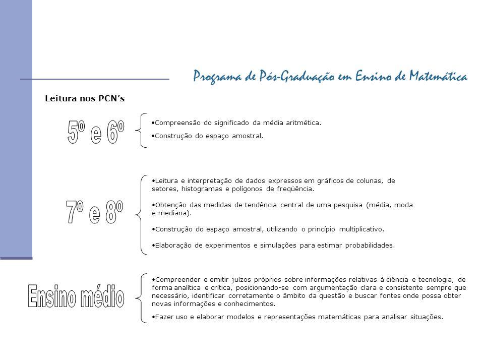 Leitura nos PCNs Compreensão do significado da média aritmética. Construção do espaço amostral. Leitura e interpretação de dados expressos em gráficos