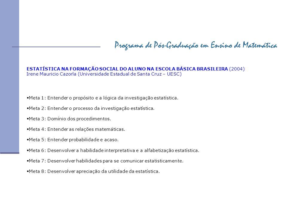ESTATÍSTICA NA FORMAÇÃO SOCIAL DO ALUNO NA ESCOLA BÁSICA BRASILEIRA (2004) Irene Mauricio Cazorla (Universidade Estadual de Santa Cruz – UESC) Meta 1: