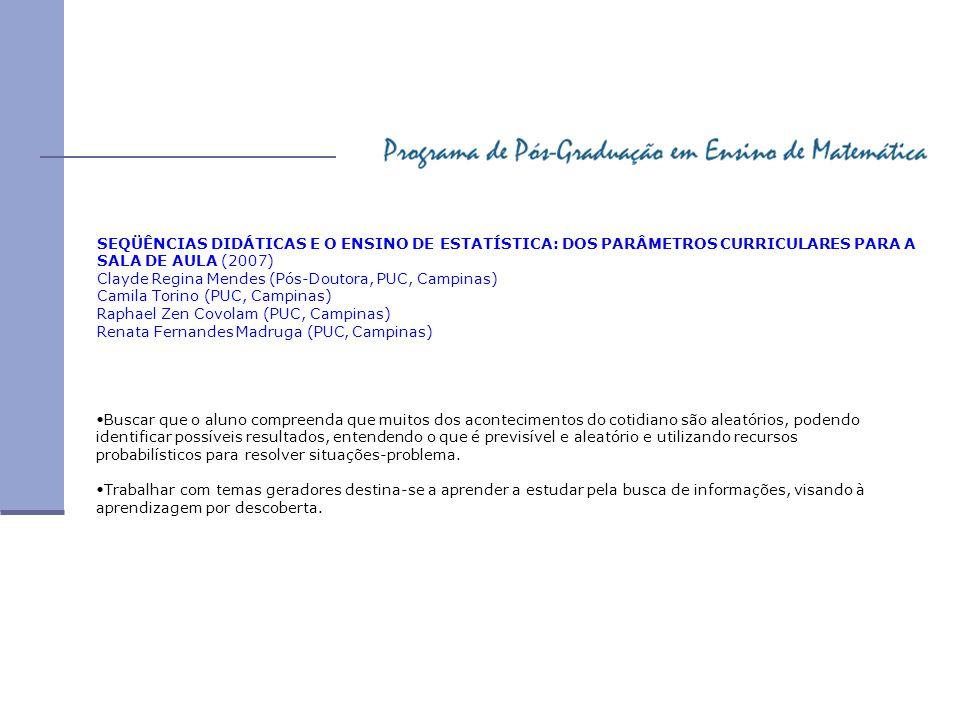 SEQÜÊNCIAS DIDÁTICAS E O ENSINO DE ESTATÍSTICA: DOS PARÂMETROS CURRICULARES PARA A SALA DE AULA (2007) Clayde Regina Mendes (Pós-Doutora, PUC, Campina