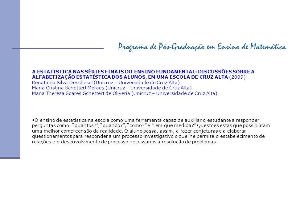 A ESTATISTICA NAS SÉRIES FINAIS DO ENSINO FUNDAMENTAL: DISCUSSÕES SOBRE A ALFABETIZAÇÃO ESTATÍSTICA DOS ALUNOS, EM UMA ESCOLA DE CRUZ ALTA (2009) Rena