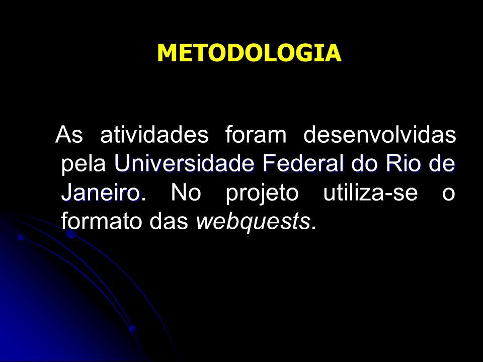 Universidade Federal do Rio de Janeiro As atividades foram desenvolvidas pela Universidade Federal do Rio de Janeiro. No projeto utiliza-se o formato