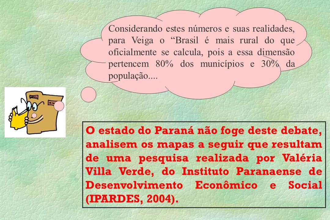 Considerando estes números e suas realidades, para Veiga o Brasil é mais rural do que oficialmente se calcula, pois a essa dimensão pertencem 80% dos