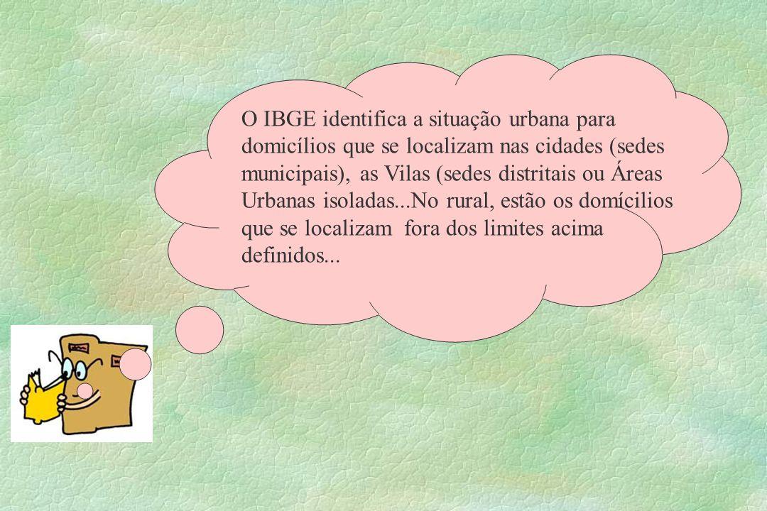 O IBGE identifica a situação urbana para domicílios que se localizam nas cidades (sedes municipais), as Vilas (sedes distritais ou Áreas Urbanas isola