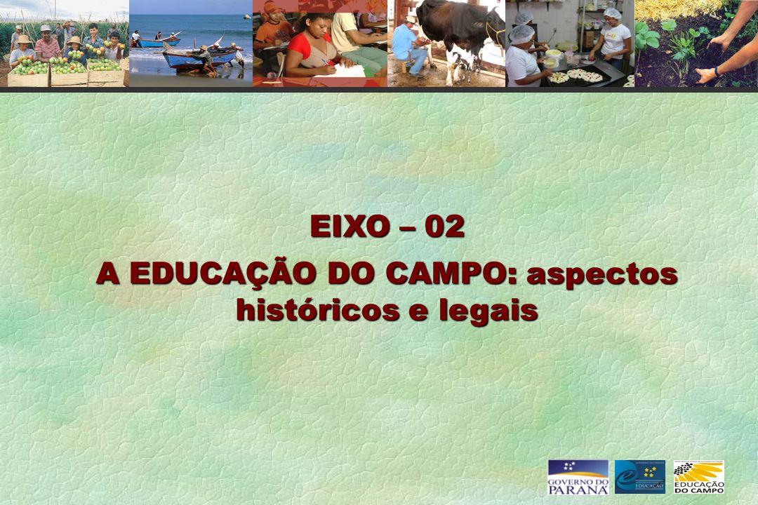 EIXO – 02 A EDUCAÇÃO DO CAMPO: aspectos históricos e legais