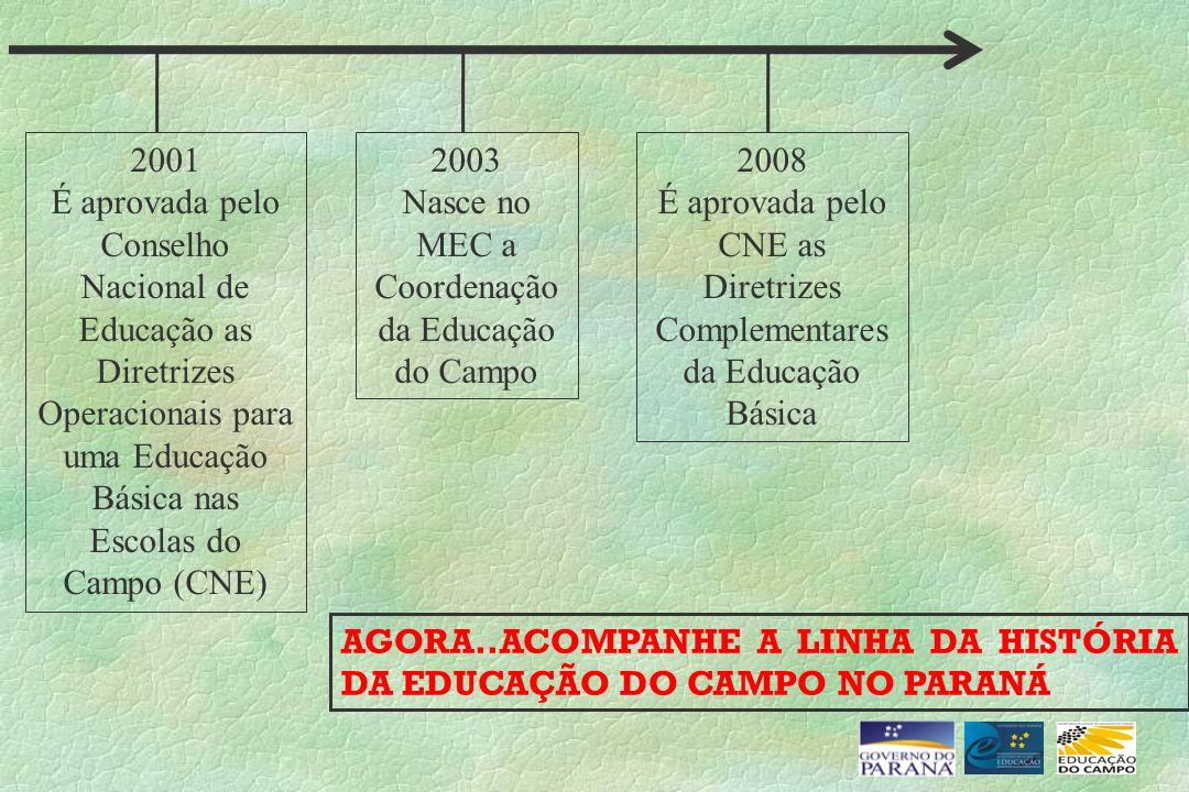 2001 É aprovada pelo Conselho Nacional de Educação as Diretrizes Operacionais para uma Educação Básica nas Escolas do Campo (CNE) 2003 Nasce no MEC a