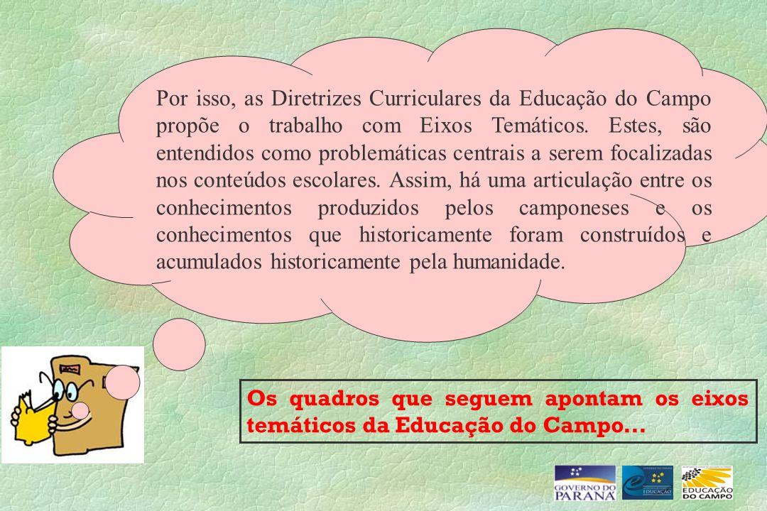 Os quadros que seguem apontam os eixos temáticos da Educação do Campo... Por isso, as Diretrizes Curriculares da Educação do Campo propõe o trabalho c
