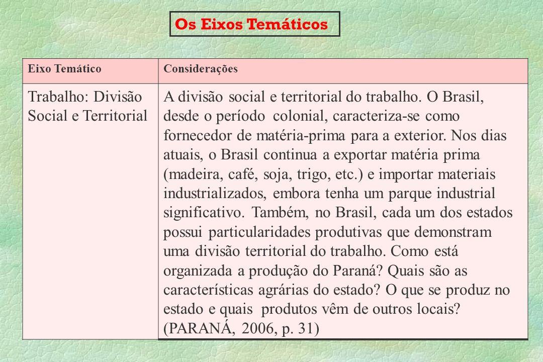 Os Eixos Temáticos Eixo TemáticoConsiderações Trabalho: Divisão Social e Territorial A divisão social e territorial do trabalho. O Brasil, desde o per