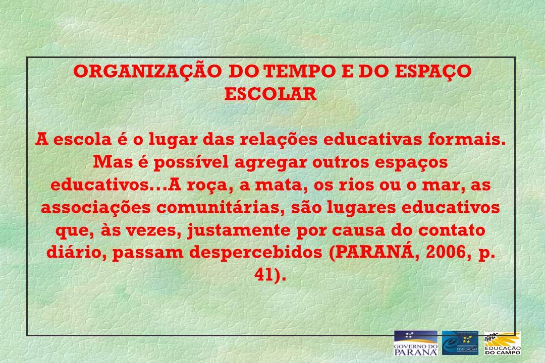 ORGANIZAÇÃO DO TEMPO E DO ESPAÇO ESCOLAR A escola é o lugar das relações educativas formais. Mas é possível agregar outros espaços educativos...A roça