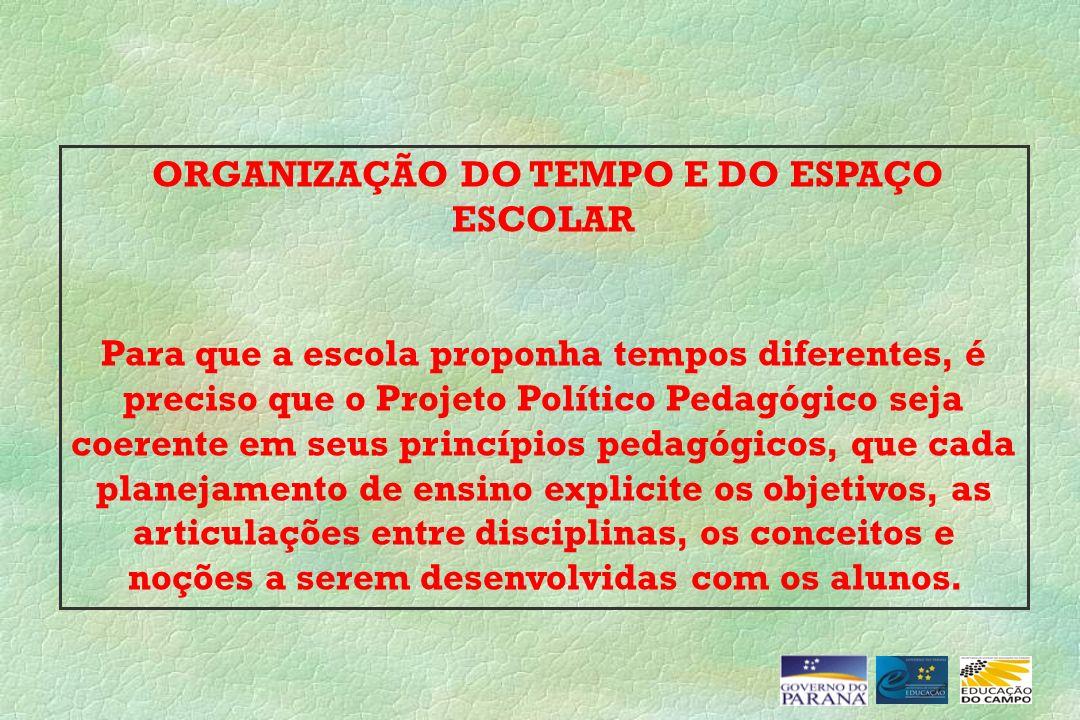 ORGANIZAÇÃO DO TEMPO E DO ESPAÇO ESCOLAR Para que a escola proponha tempos diferentes, é preciso que o Projeto Político Pedagógico seja coerente em se