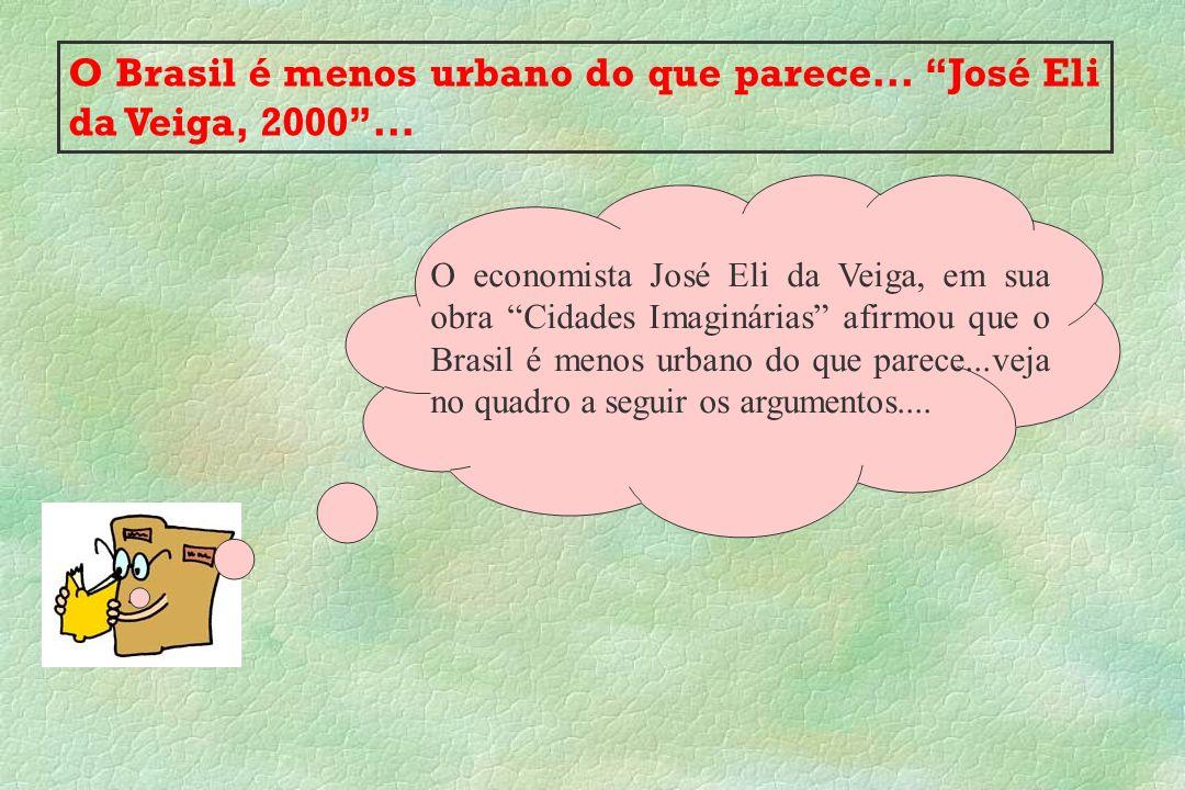 O Brasil é menos urbano do que parece... José Eli da Veiga, 2000... O economista José Eli da Veiga, em sua obra Cidades Imaginárias afirmou que o Bras