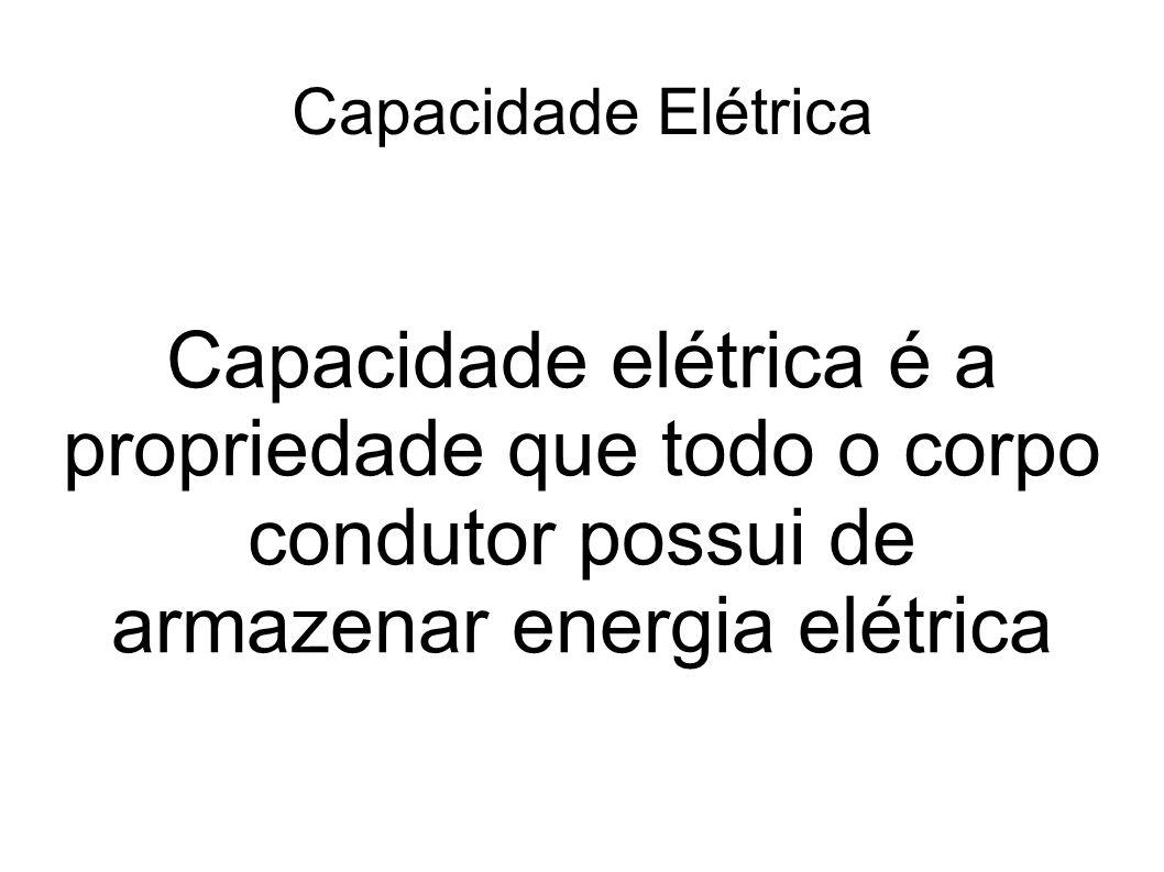 Capacidade Elétrica Capacidade elétrica é a propriedade que todo o corpo condutor possui de armazenar energia elétrica