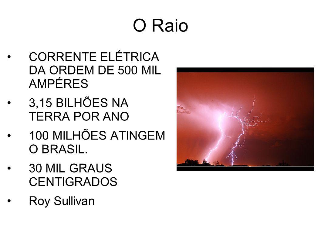 O Raio CORRENTE ELÉTRICA DA ORDEM DE 500 MIL AMPÉRES 3,15 BILHÕES NA TERRA POR ANO 100 MILHÕES ATINGEM O BRASIL. 30 MIL GRAUS CENTIGRADOS Roy Sullivan