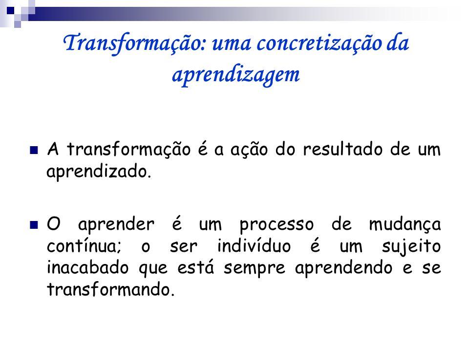 Transformação: uma concretização da aprendizagem A transformação é a ação do resultado de um aprendizado. O aprender é um processo de mudança contínua