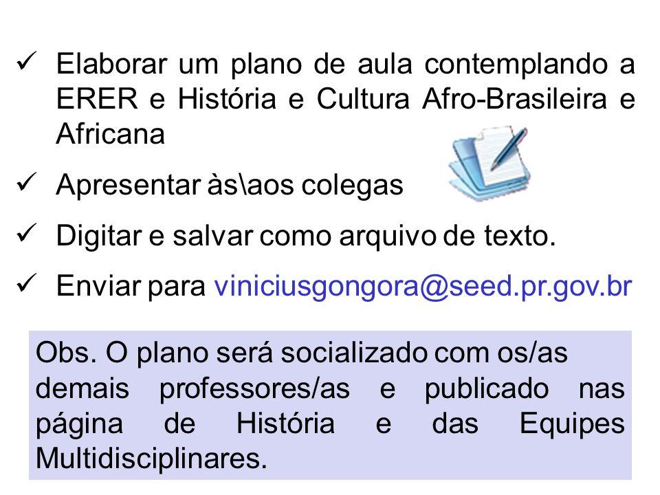 Elaborar um plano de aula contemplando a ERER e História e Cultura Afro-Brasileira e Africana Apresentar às\aos colegas Digitar e salvar como arquivo