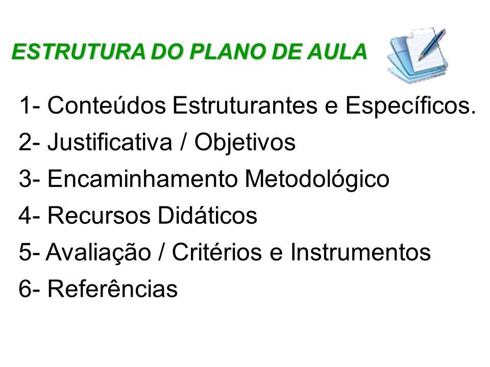 ESTRUTURA DO PLANO DE AULA 1- Conteúdos Estruturantes e Específicos. 2- Justificativa / Objetivos 3- Encaminhamento Metodológico 4- Recursos Didáticos