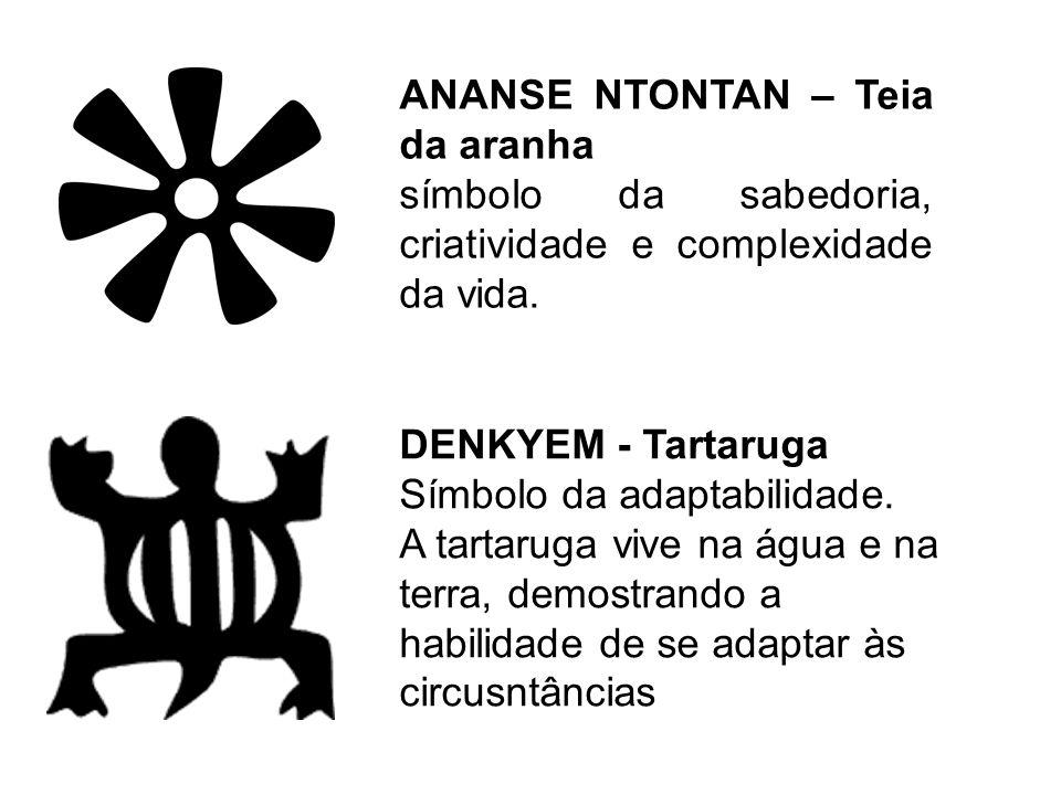 ANANSE NTONTAN – Teia da aranha símbolo da sabedoria, criatividade e complexidade da vida. DENKYEM - Tartaruga Símbolo da adaptabilidade. A tartaruga