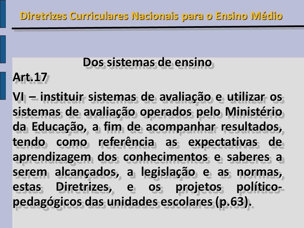 Dos sistemas de ensino Art.17 VI – instituir sistemas de avaliação e utilizar os sistemas de avaliação operados pelo Ministério da Educação, a fim de