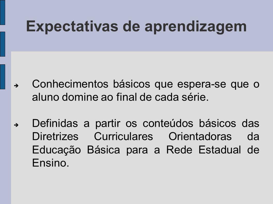 Expectativas de aprendizagem Conhecimentos básicos que espera-se que o aluno domine ao final de cada série. Definidas a partir os conteúdos básicos da