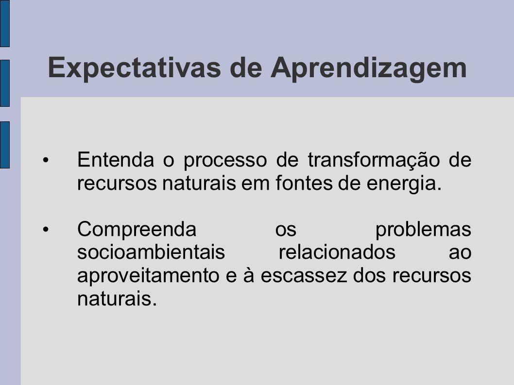 Expectativas de Aprendizagem Entenda o processo de transformação de recursos naturais em fontes de energia. Compreenda os problemas socioambientais re