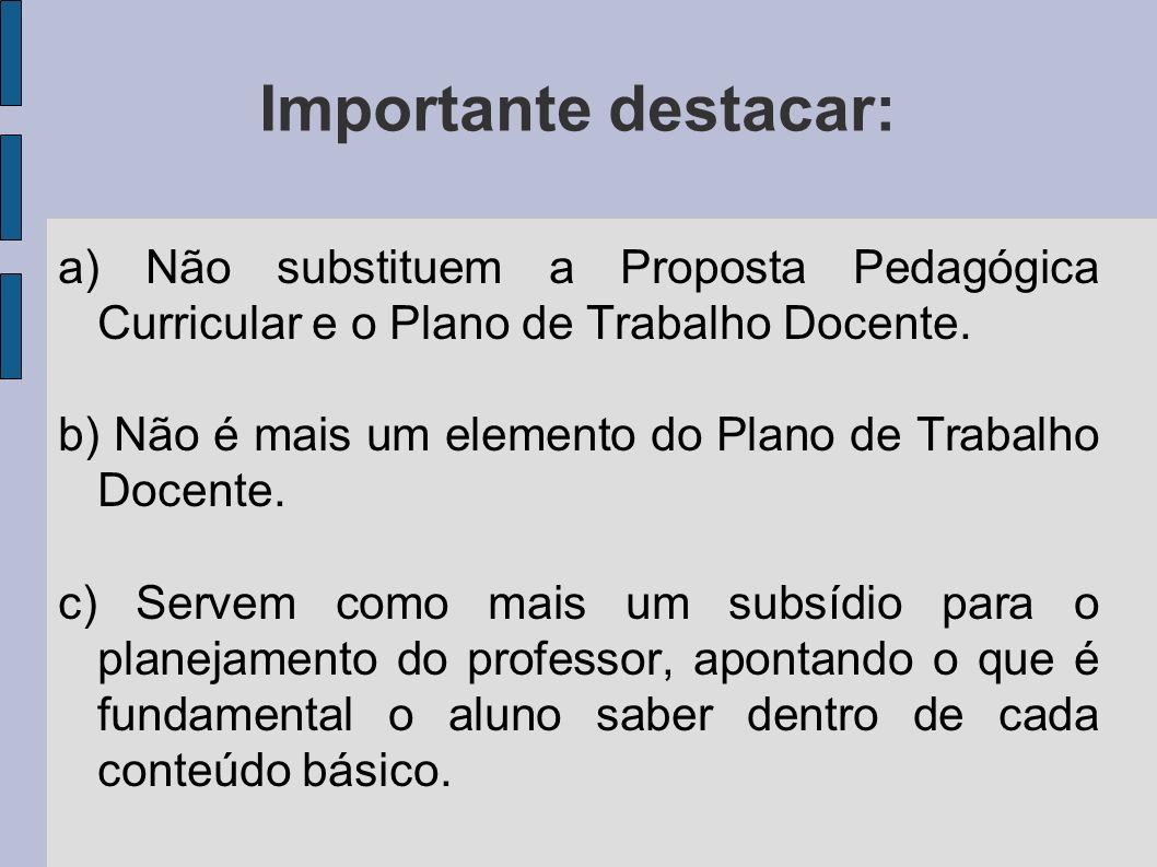 Importante destacar: a) Não substituem a Proposta Pedagógica Curricular e o Plano de Trabalho Docente. b) Não é mais um elemento do Plano de Trabalho