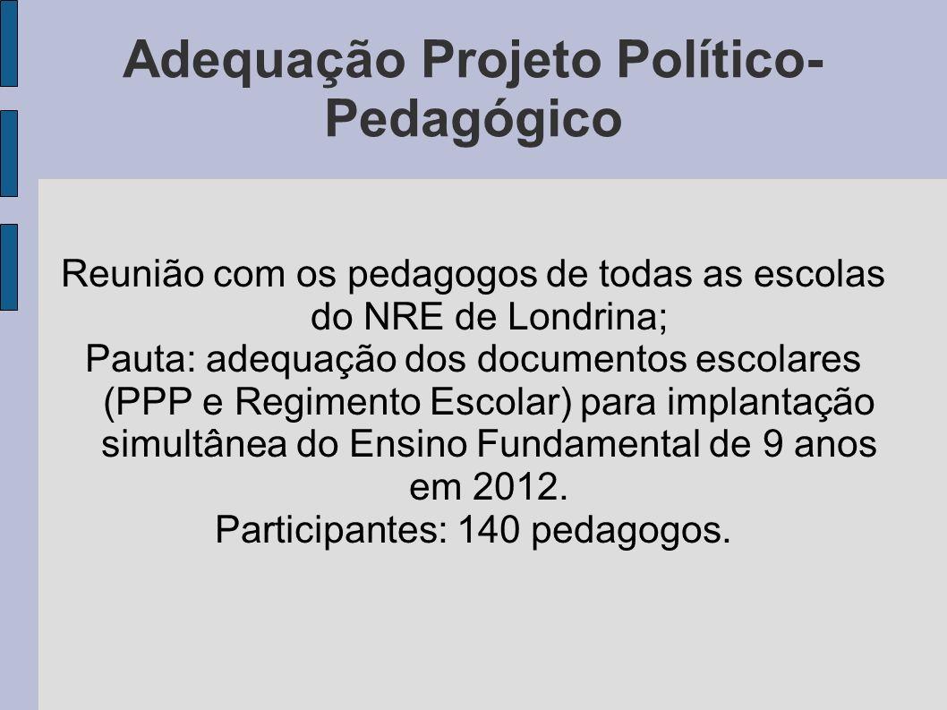 Adequação Projeto Político- Pedagógico Reunião com os pedagogos de todas as escolas do NRE de Londrina; Pauta: adequação dos documentos escolares (PPP