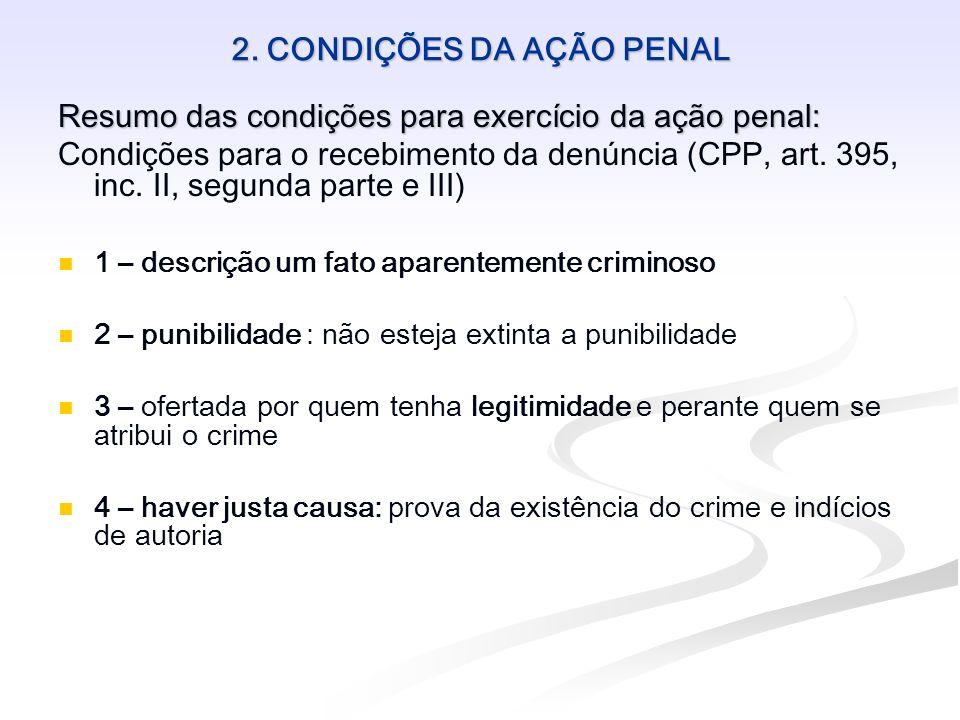2. CONDIÇÕES DA AÇÃO PENAL Resumo das condições para exercício da ação penal: Condições para o recebimento da denúncia (CPP, art. 395, inc. II, segund