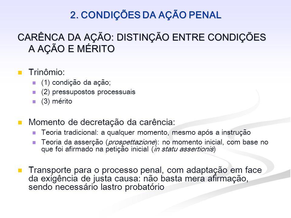 2. CONDIÇÕES DA AÇÃO PENAL CARÊNCA DA AÇÃO: DISTINÇÃO ENTRE CONDIÇÕES A AÇÃO E MÉRITO Trinômio: (1) condição da ação; (2) pressupostos processuais (3)