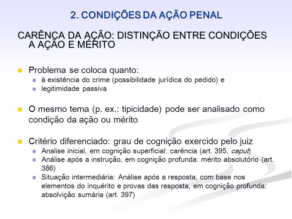 2. CONDIÇÕES DA AÇÃO PENAL CARÊNCA DA AÇÃO: DISTINÇÃO ENTRE CONDIÇÕES A AÇÃO E MÉRITO Problema se coloca quanto: à existência do crime (possibilidade