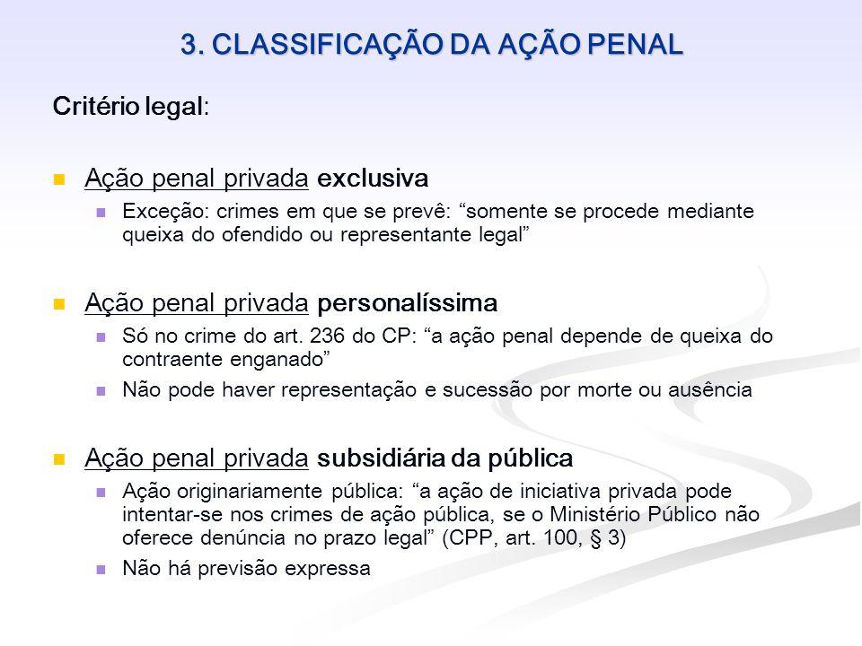 3. CLASSIFICAÇÃO DA AÇÃO PENAL Critério legal: Ação penal privada exclusiva Exceção: crimes em que se prevê: somente se procede mediante queixa do ofe
