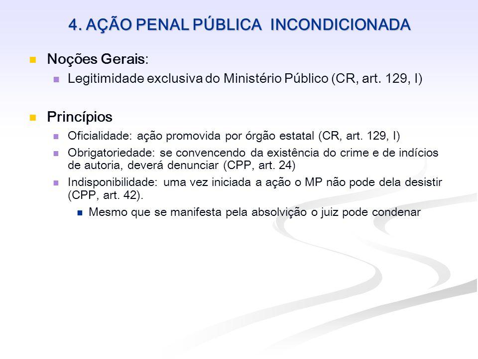 4. AÇÃO PENAL PÚBLICA INCONDICIONADA Noções Gerais: Legitimidade exclusiva do Ministério Público (CR, art. 129, I) Princípios Oficialidade: ação promo