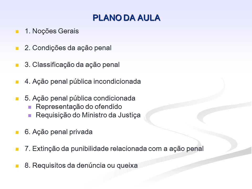 PLANO DA AULA 1. Noções Gerais 2. Condições da ação penal 3. Classificação da ação penal 4. Ação penal pública incondicionada 5. Ação penal pública co