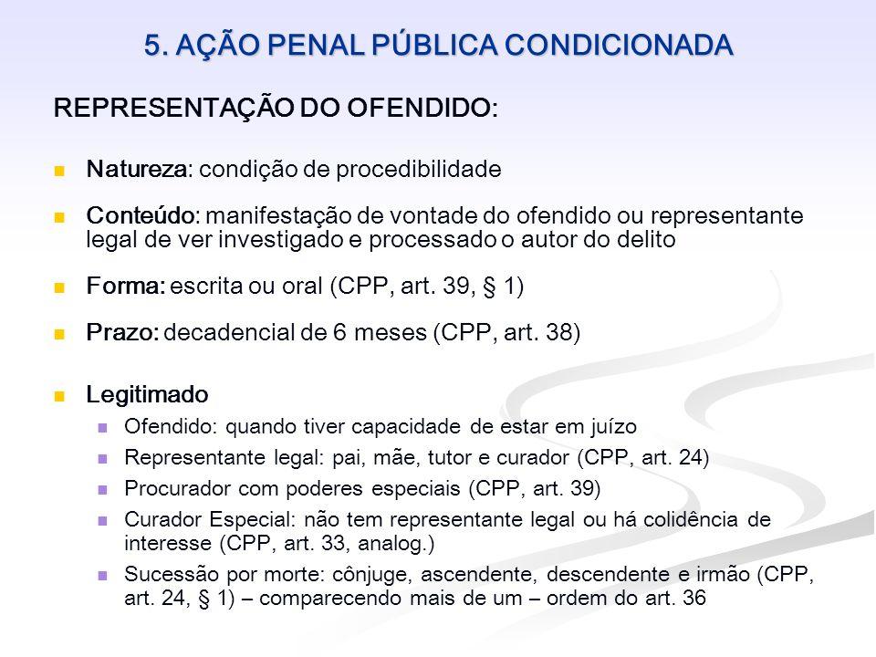 5. AÇÃO PENAL PÚBLICA CONDICIONADA REPRESENTAÇÃO DO OFENDIDO: Natureza: condição de procedibilidade Conteúdo: manifestação de vontade do ofendido ou r